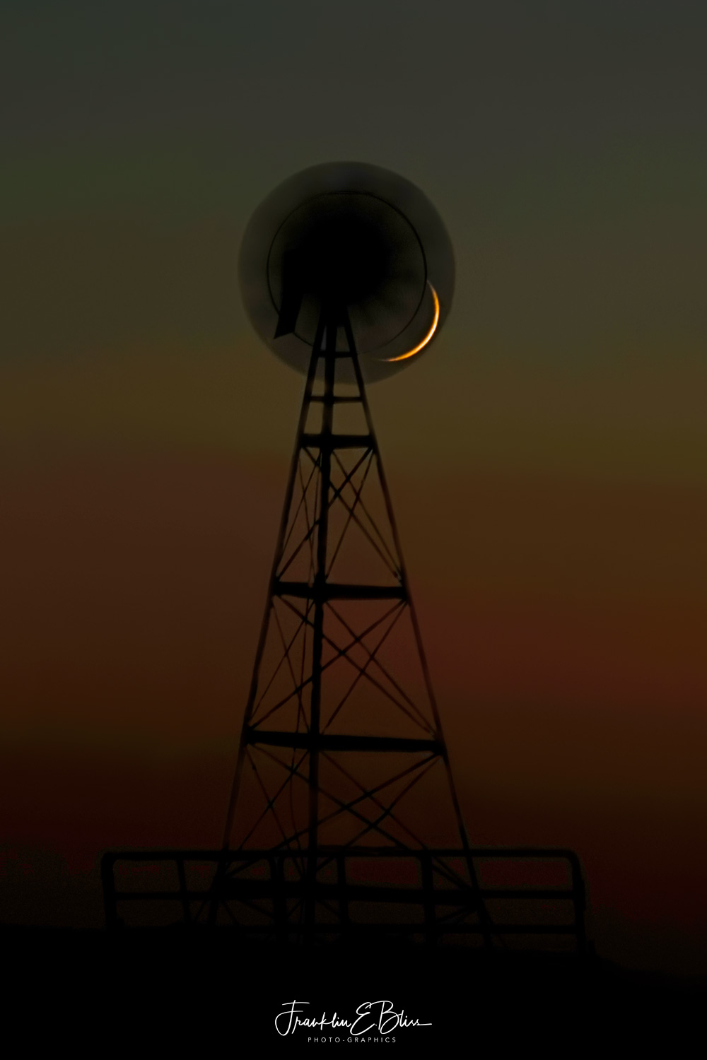 Windmill Filter in Front of a Crescent Moon