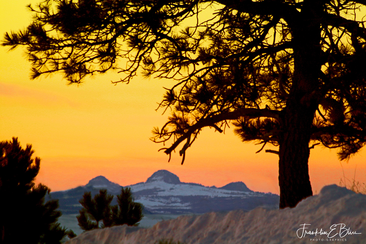"The ""Three Sisters"" aka The ""Missouri Buttes"" in Alpenglow"