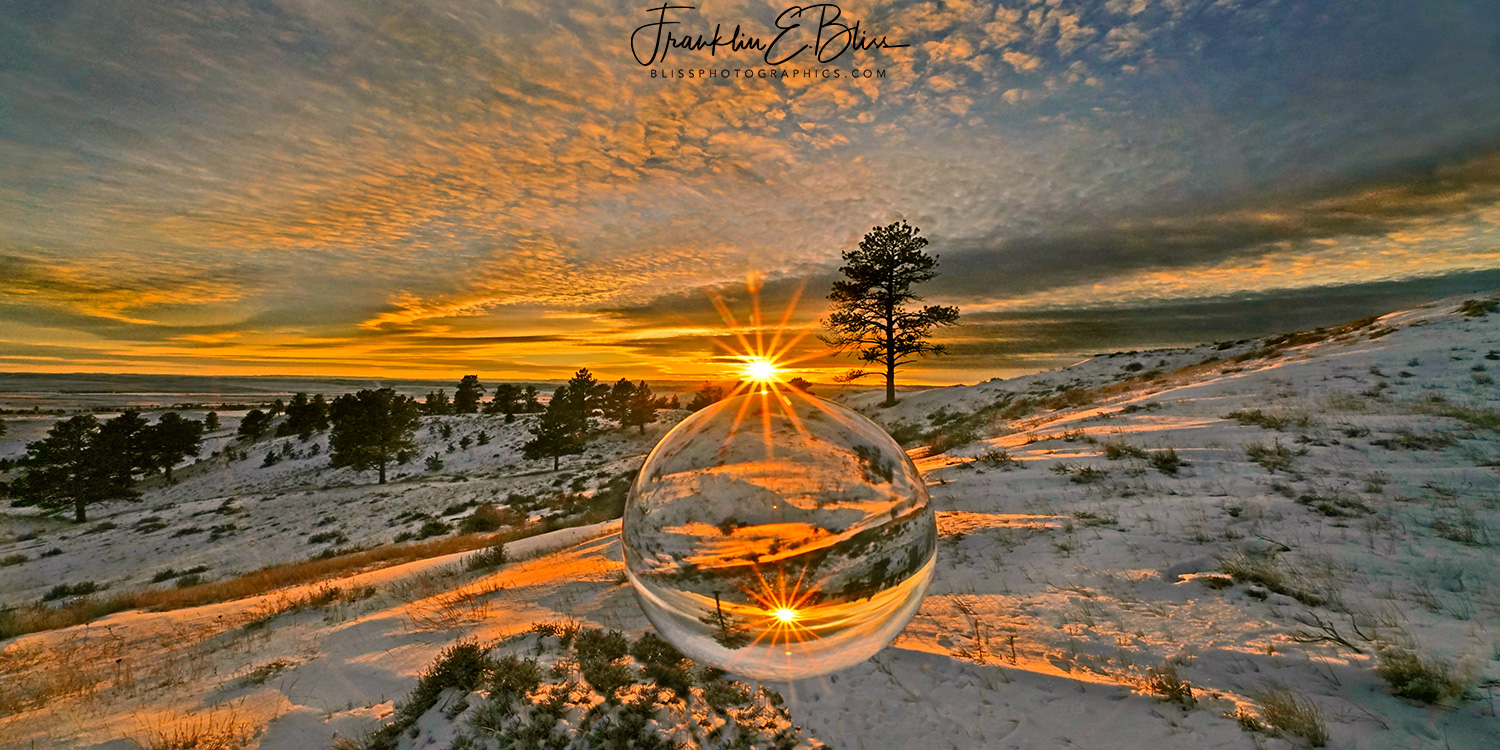 Floating Crystal Ball Back Country Sunset with Magic Glass Sphere Halloween