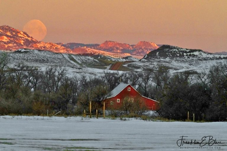 Red Barn, Hills, Road and Moon 110319F