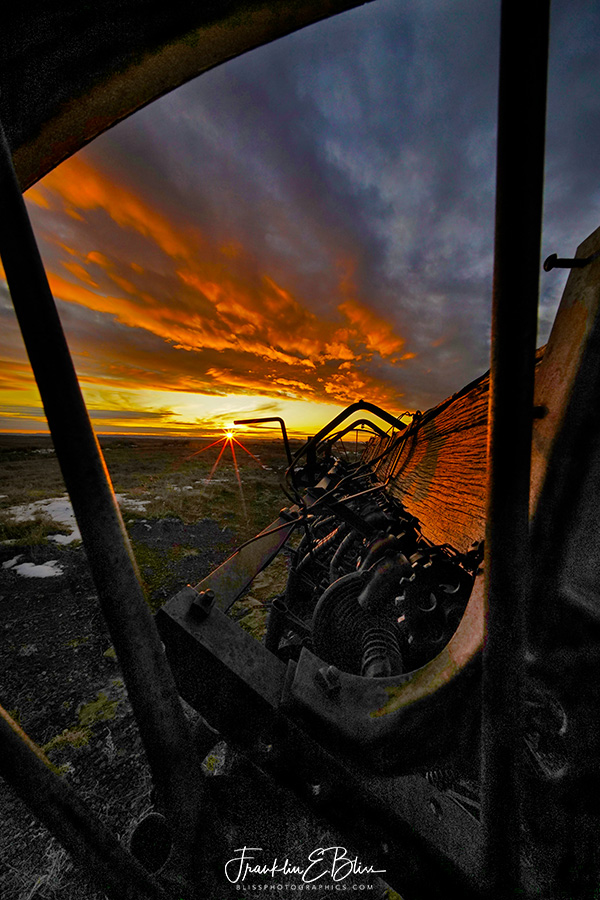 Sunset Perspective Antique Seed Drill