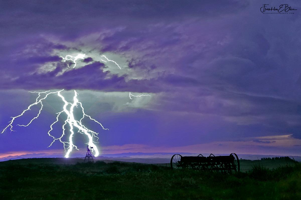 Lightning Highlights the Windmill