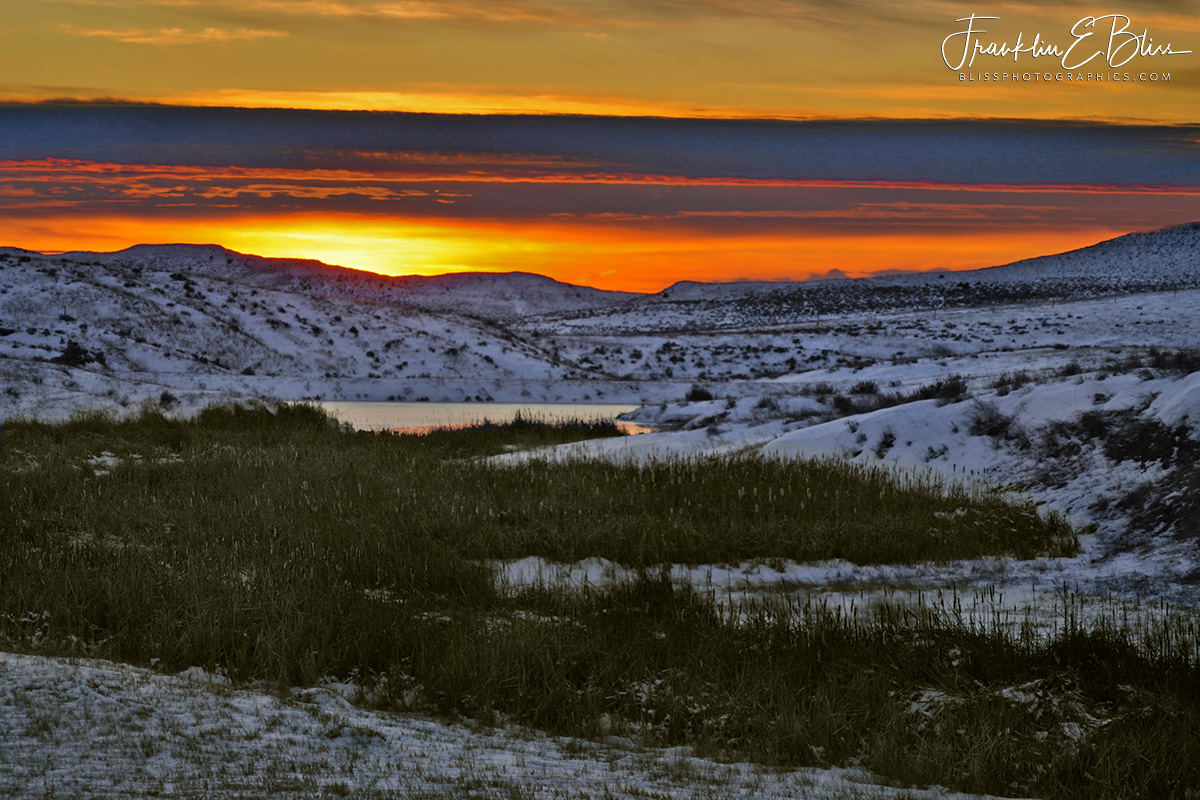 Wetland Sunset in the Snow