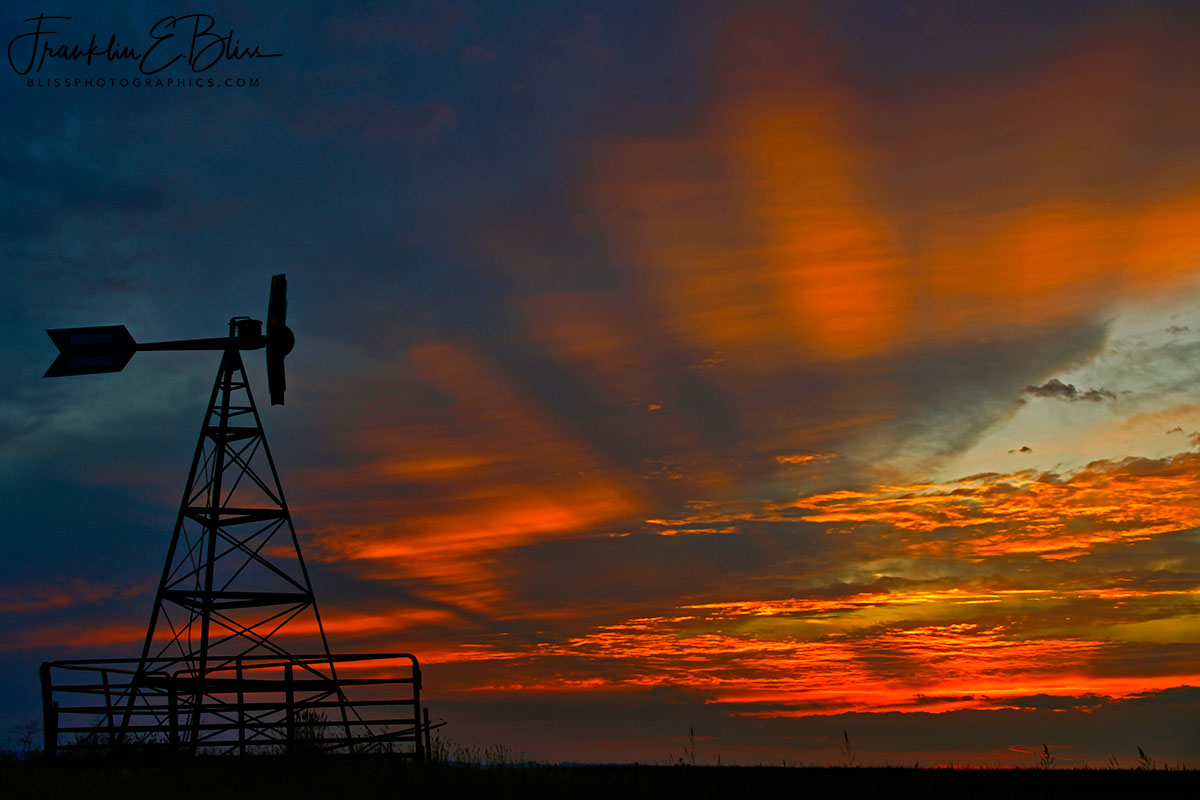 Windmill Photobombing Crepuscular Sky