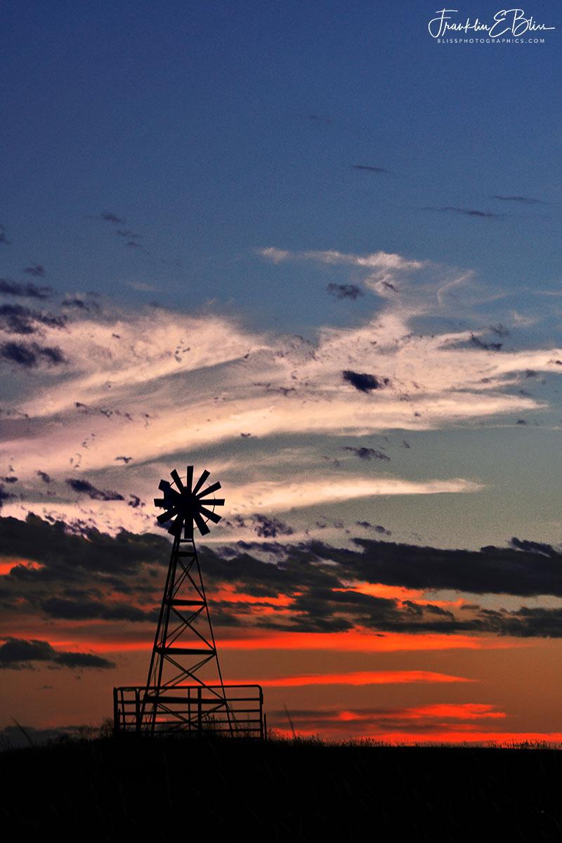 Twilight Patriotic Windmill