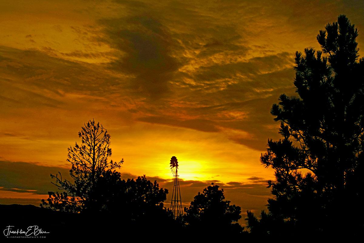 Landscape Twilight Windmill