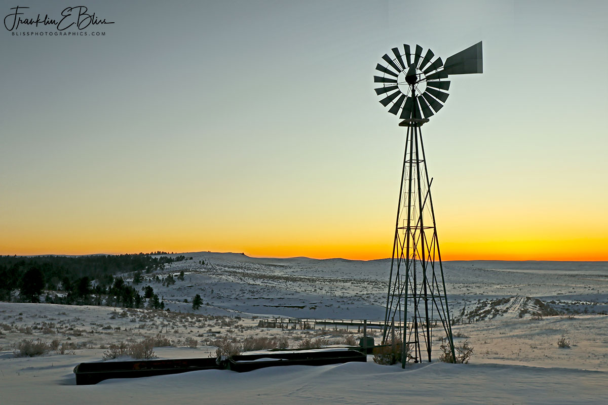 Snowy Windmill Alpenglow Sunrise