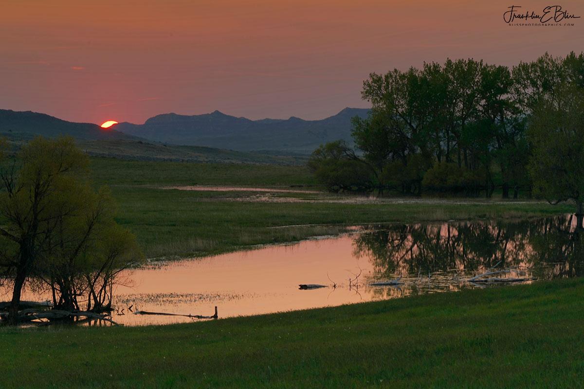 Wetlands Sunset Through Smoke