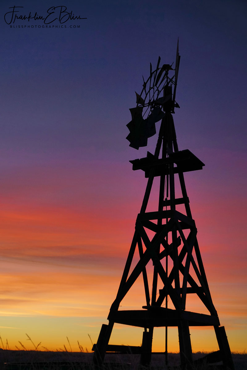 Wooden Windmill Bathed in Twilight