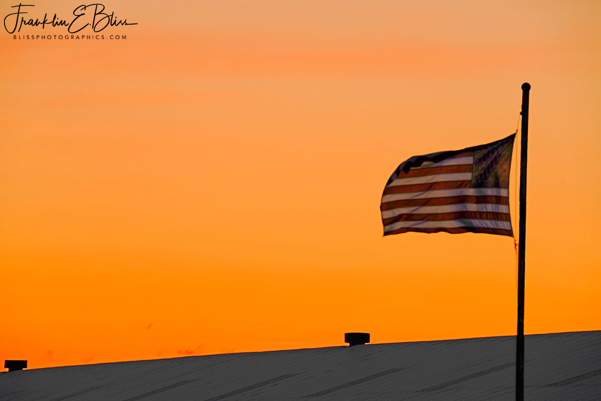 Flying Flag in Alpenglow