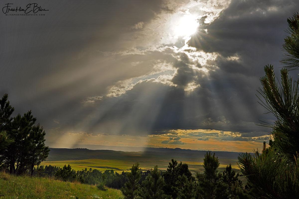 Crepuscular Spotlights Dramatic Landscape