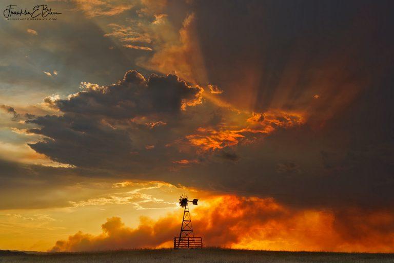Windmill Watching Prairie Fire 072320C