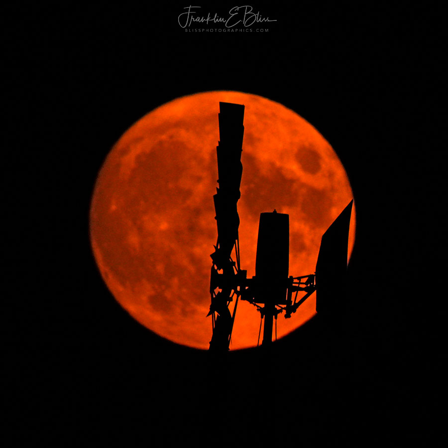 Windmill Silhouette Full Moon