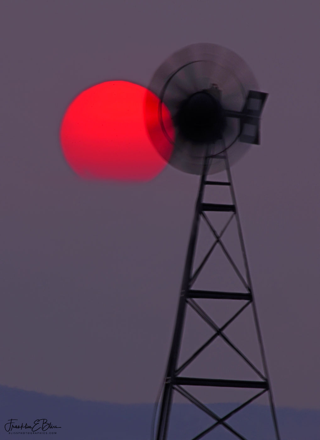 Windmill Smoke Pall Sunset
